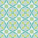 Abstract Geometric Seamless Pattern with Floral Ornament in Teal and Lime Green Color. Royalty Free Stock Image