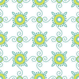 Abstract Geometric Seamless Pattern with Floral Ornament in Teal and Lime Green Color. Royalty Free Stock Photography