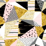 Abstract geometric seamless with pattern gold glitter elements. Trendy hand drawn textures. Modern abstract design for paper, cover, fabric, interior decor and vector illustration