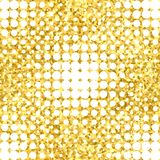 Abstract geometric seamless pattern with gold glitter texture.  Stock Image