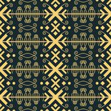 Abstract geometric seamless pattern in golden color. Seamless abstract geometric pattern with flourish elements in blue-black and golden colors stock illustration