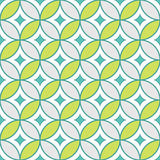 Abstract Geometric Seamless Pattern with Ornament in Teal and Lime Green Color. Vector seamless pattern stock illustration