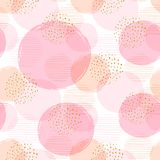 Abstract geometric seamless pattern with pink circles. Modern abstract design for paper, cover, fabric, interior decor and other users. Ideal for baby girl Royalty Free Stock Photography