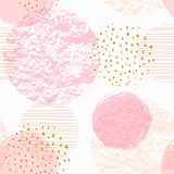 Abstract geometric seamless pattern with pink circles. Modern abstract design for paper, cover, fabric, interior decor and other users. Ideal for baby girl Royalty Free Stock Image