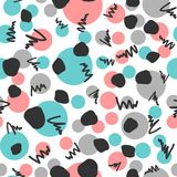 Abstract geometric seamless pattern. Repeated circles and scribbles drawn by hand. Sketch, doodle. Endless modern vector illustration. White, black, blue, pink Stock Images