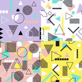 Abstract geometric seamless pattern set. Modern textures. Colorful geometric backgrounds. Royalty Free Stock Photos