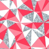 Abstract geometric seamless pattern with silver glitter texture.  Stock Photos