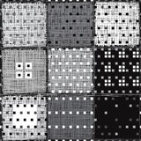 Abstract geometric seamless pattern. Vector monochrome background with different squares. Stock Images