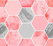 Abstract geometric seamless pattern on white background. Watercolor hexagon with stain, spray, splash and spot on paper textures, minimal elements. Vector royalty free illustration