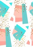 Abstract geometric seamless pattern in white, gold,blue and pastel pink. Hand drawn vintage texture, lines, dots pattern. And geometric elements. Modern stock illustration