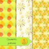 Abstract geometric seamless patterns set Stock Image