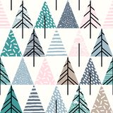 Abstract geometric seamless repeat pattern with christmas trees. Trendy hand drawn textures. Modern abstract design for paper, cover, fabric, interior decor vector illustration