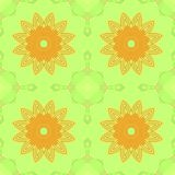 Seamless symmetric blossoms yellow orange on lime green Stock Photography