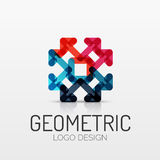 Abstract geometric shape company logo. Vector abstract geometric shape icon, company logo design, business symbol concept, minimal line style Stock Photos