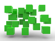 Abstract geometric shape from green cubes. 3d render Stock Photography