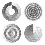 Abstract Geometric Shape Set Vector. Black Dotted Round Circle. Film Grain, Noise, Grunge Texture. Halftone Background. Abstract Geometric Shape Vector. Black Stock Photography