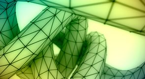 Abstract geometric shape. Twisted tube textured by lines. 3D rendering. Polygonal wire frame infinity loop model Stock Image