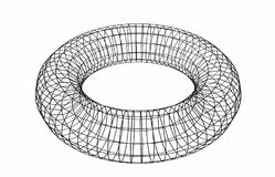 Abstract geometric shape. Wireframe object isolated on white. Background. Torus. 3d illustration Royalty Free Stock Image
