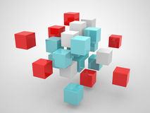 Abstract geometric shapes from cubes. This is 3d render illustration Royalty Free Stock Photography