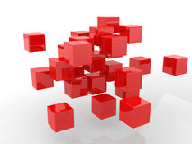 Abstract geometric shapes from cubes. This is 3d render illustration Royalty Free Stock Photo