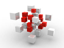 Abstract geometric shapes from cubes. 3d render Royalty Free Stock Image