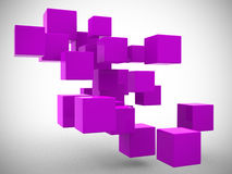 Abstract geometric shapes from cubes - 3d render Stock Images