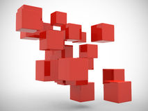 Abstract geometric shapes from cubes -- 3d render. Royalty Free Stock Photos