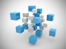 Abstract geometric shapes from cubes. 3d render Stock Image