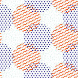 Abstract geometric shapes dotted and striped circles vector pattern. Stock Photo