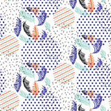 Abstract geometric shapes dotted and striped leaves circles vector pattern. Royalty Free Stock Images