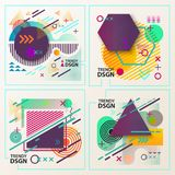Abstract geometric shapes for modern design. Cover or backdrop with geometric shapes like concentric circles and arrows, dotted line and triangle, modern or Stock Illustration