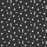 Abstract geometric shapes seamless pattern. Abstract geometric shapes dark seamless pattern. Vintage geometry inspired seamless white on dark background stock illustration