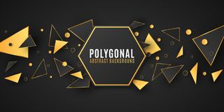 Abstract geometric shapes. Stylish banner for your design. Modern low poly style. Chaotic forms. Black and gold triangles. royalty free illustration