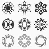 Abstract geometric shapes, symbols for your design. Symmetric center shapes. Monochrome colors. Design elements.Collection of abstract vector symbols isolated Stock Images
