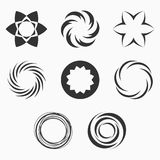 Abstract geometric shapes, symbols for your design. Symmetric center shapes. Monochrome colors. Design elements.Collection of abstract vector symbols isolated Royalty Free Stock Photography