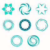Abstract geometric shapes, symbols for your design. Symmetric center shapes. Turquoise colors. Design elements.Collection of abstract vector symbols isolated Royalty Free Stock Photography