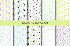 Abstract geometric shapes white pattern set. Vintage geometry inspired seamless pack lilac, green and blue on white vector illustration