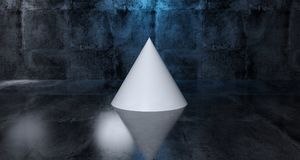 Abstract Geometric Simple Primitive Shape White Cone In Realisti. C Dark Concrete Room Texture With Blue Light 3D Rendering Illustration Stock Image