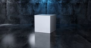Abstract Geometric Simple Primitive Shape White Cube In Realisti. C Dark Concrete Room Texture With Blue Light 3D Rendering Illustration Stock Images