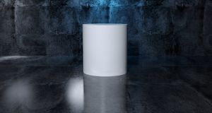 Abstract Geometric Simple Primitive Shape White Cylinder In Real. Istic Dark Concrete Room Texture With Blue Light 3D Rendering Illustration Stock Photography