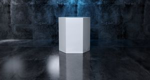 Abstract Geometric Simple Primitive Shape White Hexagonal Cylind. Er In Realistic Dark Concrete Room Texture With Blue Light 3D Rendering Illustration Royalty Free Stock Photography