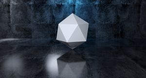Abstract Geometric Simple Primitive Shape White Low Poly  Sphere. In Realistic Dark Concrete Room Texture With Blue Light 3D Rendering Illustration Stock Image