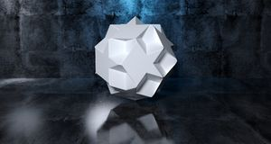 Abstract Geometric Simple Primitive Shape White Low Poly  Sphere. In Realistic Dark Concrete Room Texture With Blue Light 3D Rendering Illustration Stock Photo