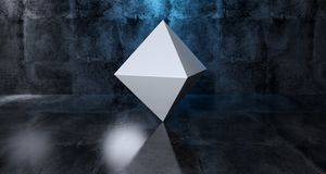 Abstract Geometric Simple Primitive Shape White Prism In Realist. Ic Dark Concrete Room Texture With Blue Light 3D Rendering Illustration Royalty Free Stock Photos