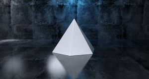 Abstract Geometric Simple Primitive Shape White Pyramid In Reali. Stic Dark Concrete Room Texture With Blue Light 3D Rendering Royalty Free Stock Photo