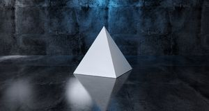 Abstract Geometric Simple Primitive Shape White Pyramid In Reali. Stic Dark Concrete Room Texture With Blue Light 3D Rendering Stock Photos