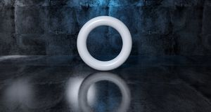Abstract Geometric Simple Primitive Shape White Torus In Realist. Ic Dark Concrete Room Texture With Blue Light 3D Rendering Stock Images