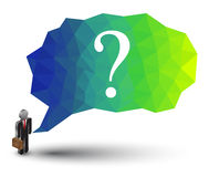 Abstract geometric speech bubble with question mark. Abstract geometric speech bubble with triangular polygons with business man. Can use for business element Royalty Free Illustration