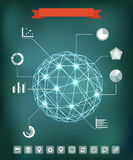 Abstract geometric sphere with charts and icons. Abstract geometric sphere composition with glowing points. Infographic elements Stock Photo