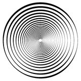 Abstract geometric spiral, ripple element with circular, concent. Ric lines. Abstract monochrome element - Royalty free vector illustration Stock Photos